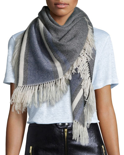 Fringed Plaid Blanket Scarf, Black