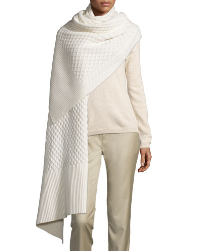 Cable-Knit Cashmere Fisherman Scarf, Ivory
