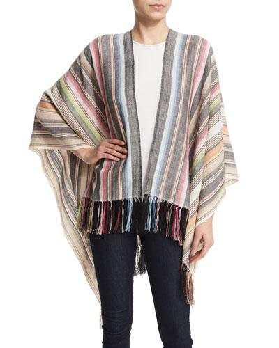 Magda Infinity-Striped Shawl, Ivory