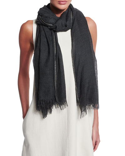 Monili-Trimmed Cashmere/Silk Scarf, Dark Gray