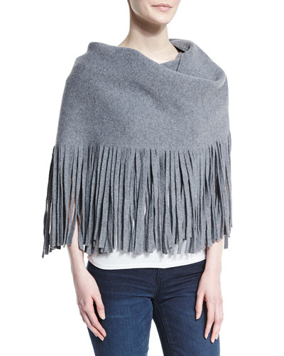 Solid Felted Fringe Scarf, Gray
