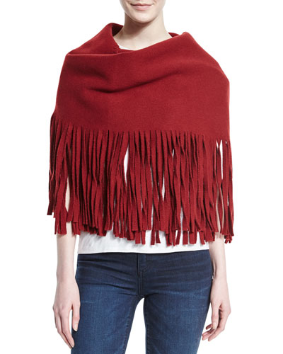Solid Felted Fringe Scarf, Carmine Red