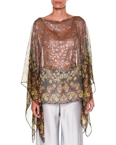 Bateau-Neck Metallic Floral-Print Silk Tunic, Beige