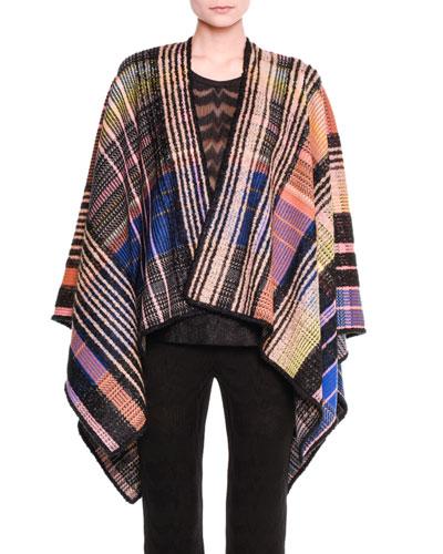Plaid Knit Cape Sweater, Black