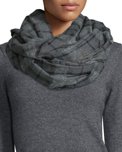 Metallic Plaid Cashmere-Blend Scarf, Charcoal