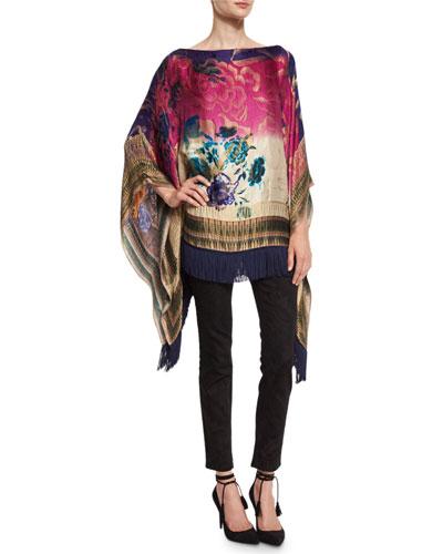Floral Fringe-Trim Poncho, Blue/Pink