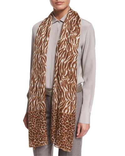 Serengeti Soffio Cashmere & Silk Stole, Brown Pattern