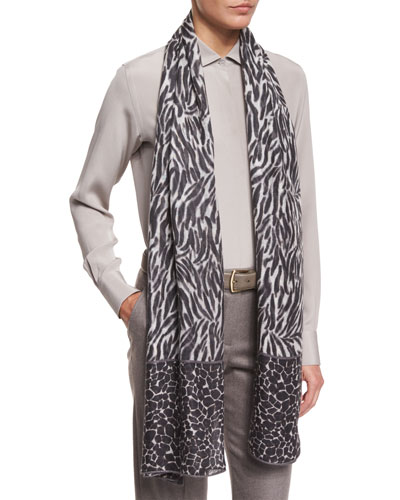 Serengeti Soffio Cashmere & Silk Stole, Black Pattern