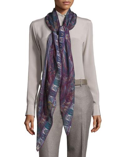 il Giardino di Sherazade Cashmere & Silk Scarf, Purple Pattern