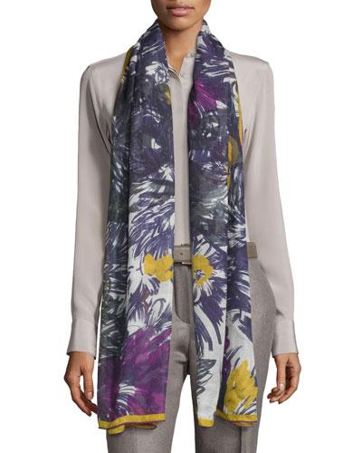 I Giardini Bizantini Soffio Cashmere & Silk Scarf, Purple Pattern