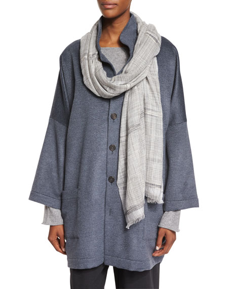 Handwoven Woven Ikat Cashmere Scarf, Dark Cloud