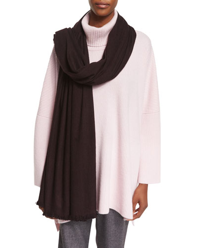 Handwoven Cashmere/Silk Shawl, Aubergine