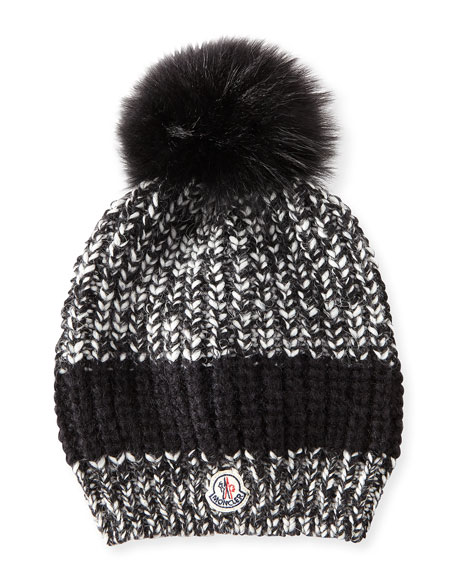 Cable-Knit Hat w/Fur Pompom, Black