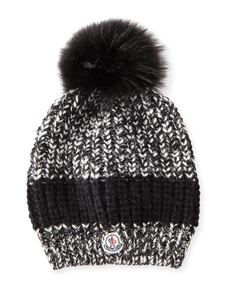 050f27fa3 Cable-Knit Hat w/Fur Pompom Black