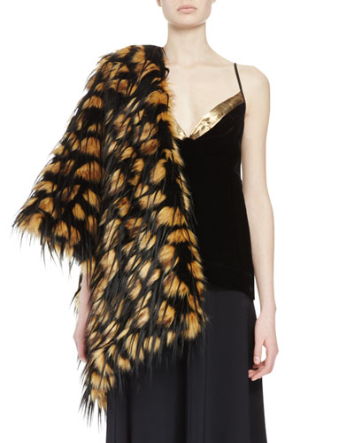 Festa Faux-Fur Monkey Feather Stole, Camel