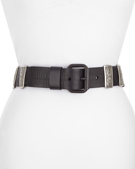 Leather Concho Belt, Black