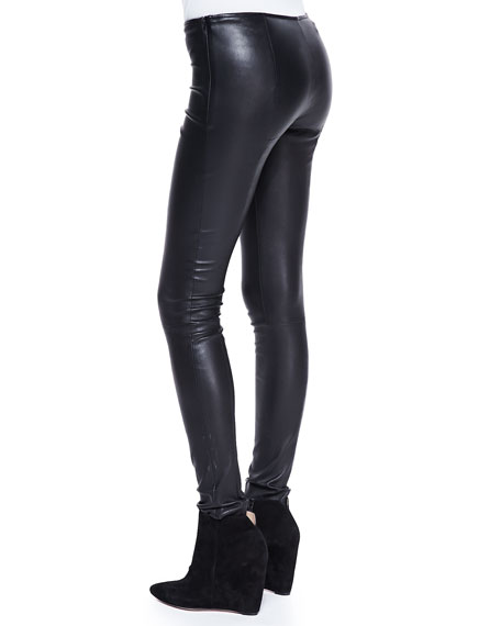 Stretch-Leather Motorcycle Leggings