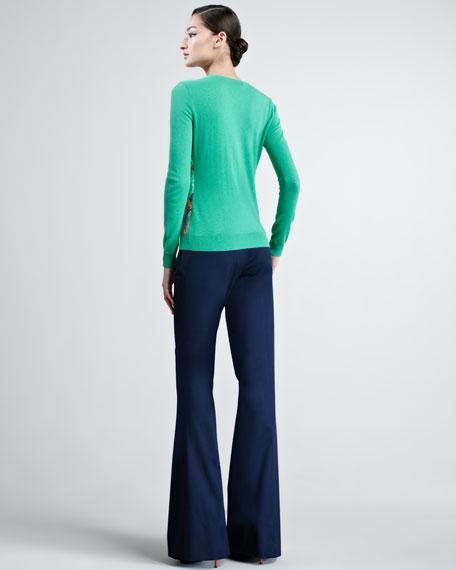 Paisley Silk-Paneled Cashmere Sweater