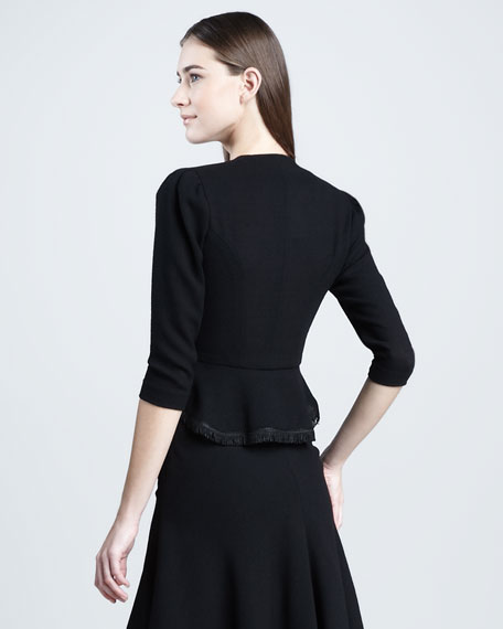 Piped Wool Jacket, Black