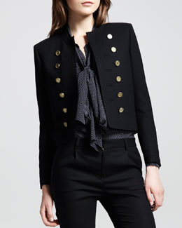 Saint Laurent Cropped Wool Band Jacket