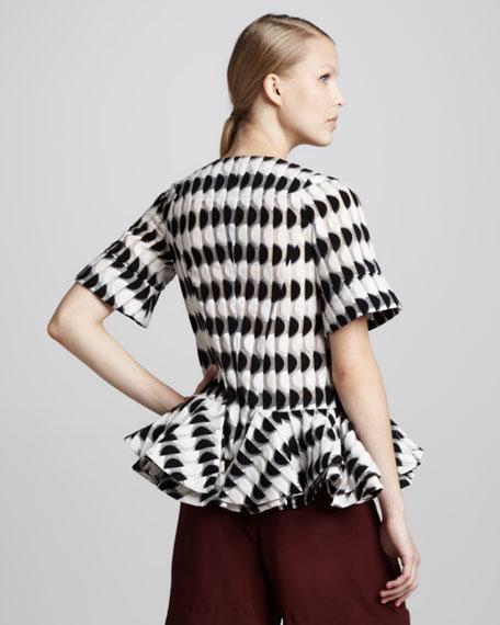 Short-Sleeve Graphic Peplum Jacket