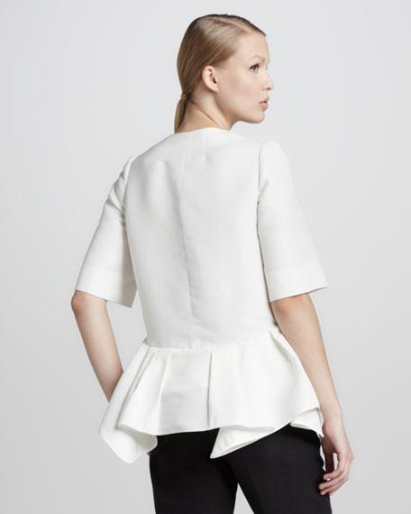 Half-Sleeve Peplum Jacket, Lily White