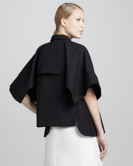Short-Sleeve Short Trench Jacket, Black