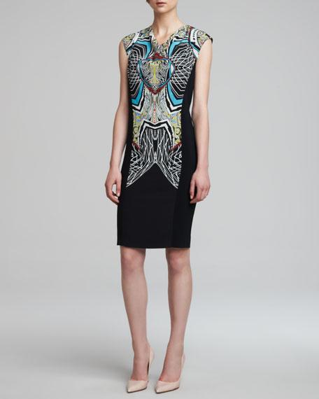 Drape-Neck Sleeveless Sheath Dress, Black/Multicolor