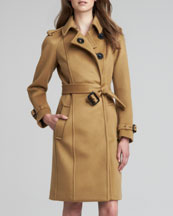Burberry Prorsum Long Cashmere Snap Coat, Mid Camel