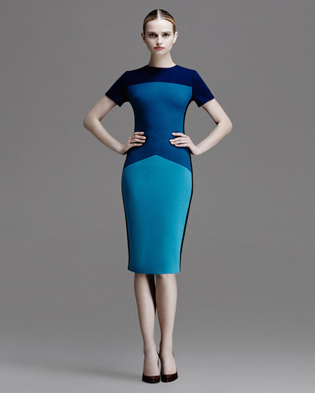 Colorblock Pebble Crepe Jersey Dress, Teal/Multi
