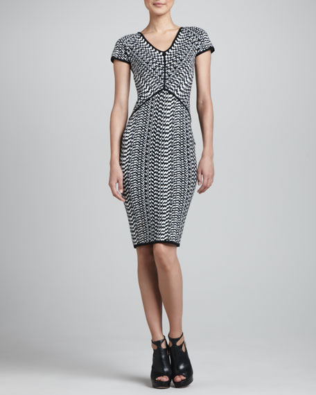 Optical-Print Jacquard Dress, Black/White