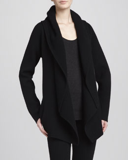 Donna Karan Hooded Cashmere Cozy Cardigan, Black