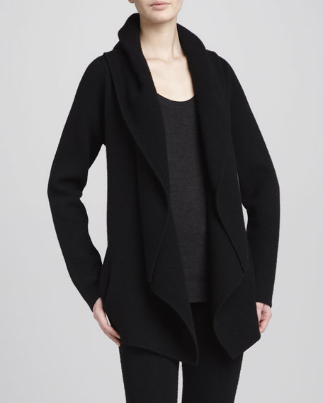 Hooded Cashmere Cozy Cardigan, Black
