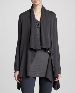 Donna Karan Drape-Neck Asymmetric Cardigan, Steel