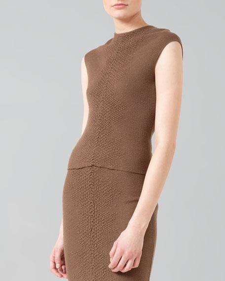 Crocodile-Stripe Knit Pullover