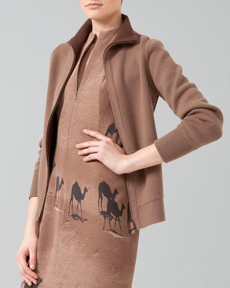 Reversible Cashmere Zip Jacket