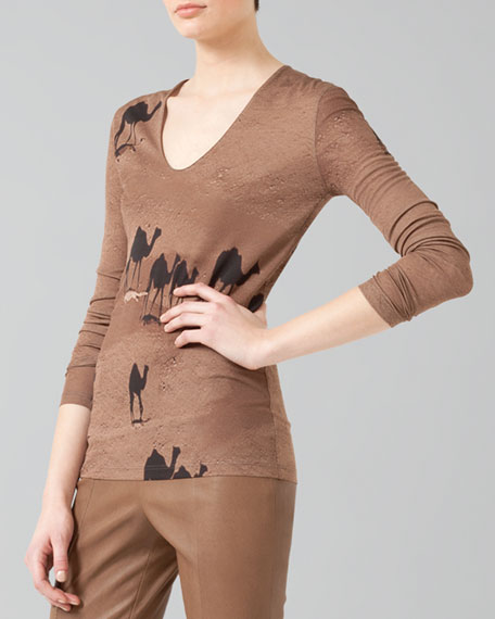 Long-Sleeve Camel-Print Shirt