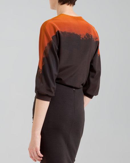 Giraffe-Print Half-Sleeve Blouse