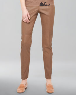 Akris Seamed Stretch Leather Pants