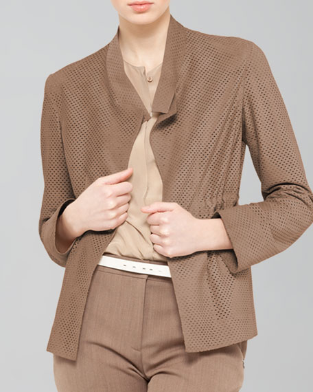 Perforated Drawstring Suede Jacket