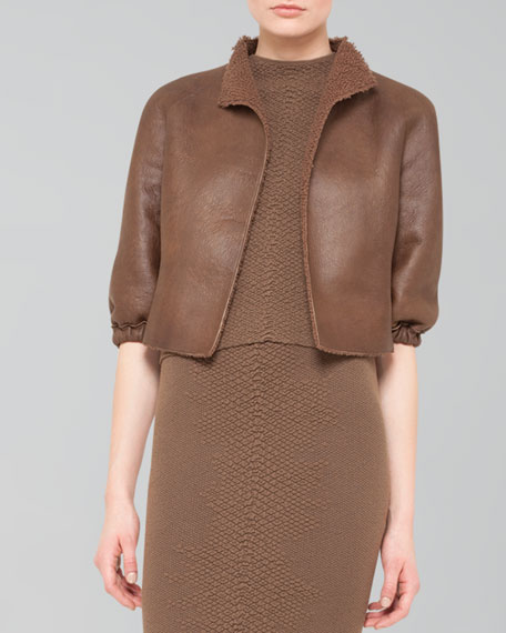 Cropped Open Leather Jacket
