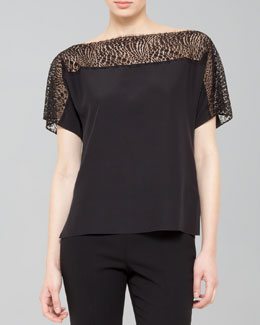 Akris Lace-Top Tunic Blouse