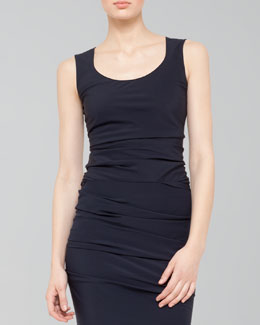 Akris Ruched Combo Scoop-Neck Top