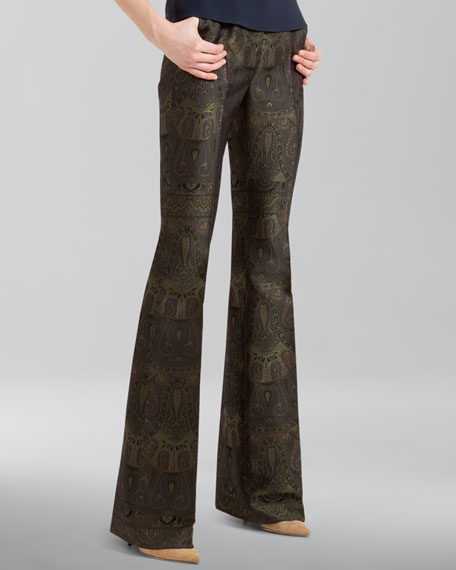 Boot-Cut Paisley Jacquard Pants