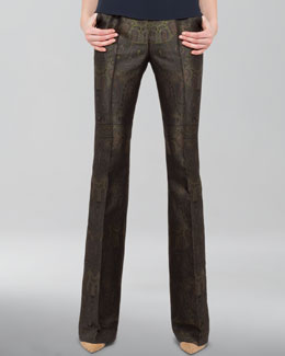 Akris Boot-Cut Paisley Jacquard Pants