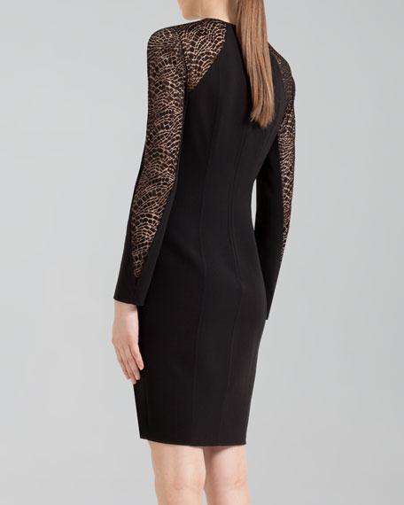 Lace-Inset Wool Shift Dress