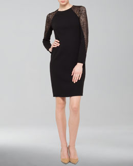 Akris Lace-Inset Wool Shift Dress