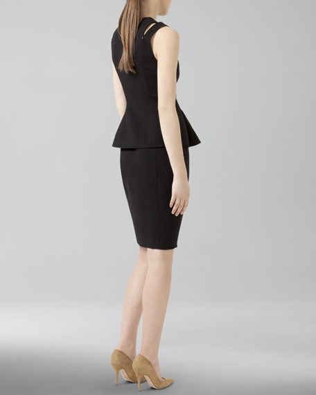 Zip-Front Wool Peplum Pencil Dress