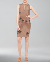 Akris Camel-Print Zip Shift Dress