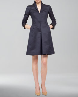 Akris Silk Ottoman A-Line Coat Dress